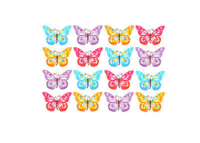 32 Butterflies Edible Wafer Paper Cup Cake Toppers Size W4.cm x  H3 cm