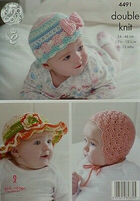CROCHET PATTERN Baby Beanie with Bow, Frilled Sunhat &Bonnet DK King Cole 4491