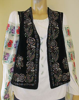 Vintage traditional costumes  hand beaded black velvet vest from Romania size S