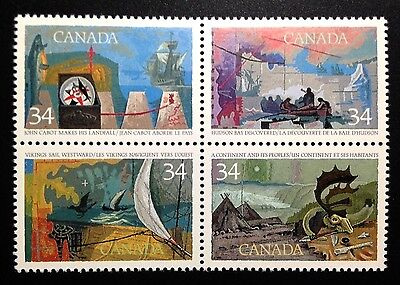 "Canada #1104-1107a MNH, Exploration of Canada ""1"" Block of Stamps 1986"