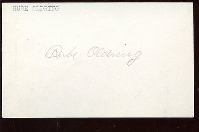 Rube Oldring Autographed Index Card T206 Hologram