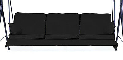 Replacement Black 3 Seater Swing Seat Hammock Cushions Set Pads Garden Furniture