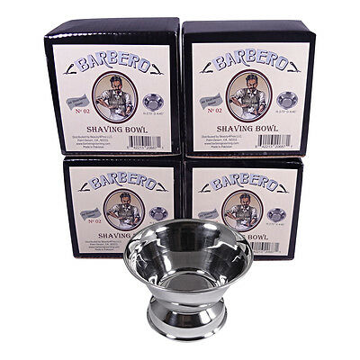 Barbero Deluxe Stainless Steel Shaving Bowl No.02 (4 Pack)