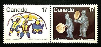 Canada #837-838a MNH, Inuit Shelter & Community Pair of Stamps 1979
