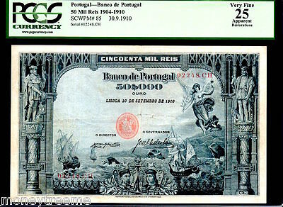 "Portugal P85 ""angel Of Peace"" 1910 50$000 Reis Graded Pcgs 25! Only 1"