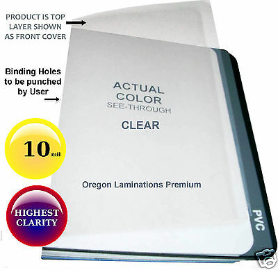 10 Mil 11 x 17 Clear Binding Covers [100] unpunched 11x17 Plastic Sheets
