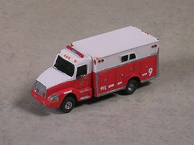 N Scale 2012 Red & White Volve Fire Heavy Rescue Truck.
