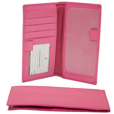 "ILI Leather Hot Pink Checkbook Cover w/ Pen Loops RFB   ""W"""