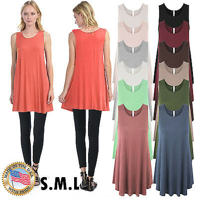 Women's Sleeveless Loose Fit Basic Knit Tunic Long Tank Top Made in USA S,M,L