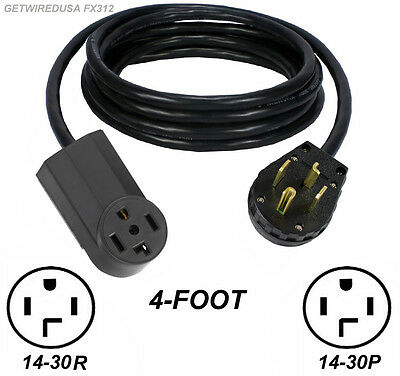 4Ft Dryer Extension Cord Female 14-30R 4-Prong Receptacle Male 14-30P 4-Pin Plug