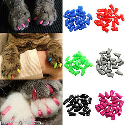 20pcs New Pet Cat Nail Covers Claw Paws Caps Soft Gel Protector Adhesive Glue