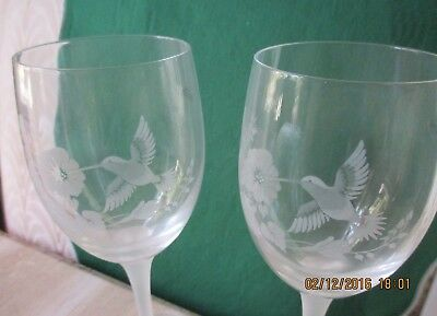 Avon Vintage**hummingbird Wine Glass Set**set Of 2*rare*1989*nib*made In France