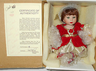 Marie Osmond Disney Baby Christmas Belle Tiny Tot Porcelain Doll - Nrfb