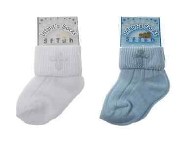 Baby Christening Religious Socks with Cross White or Blue Girl Boy