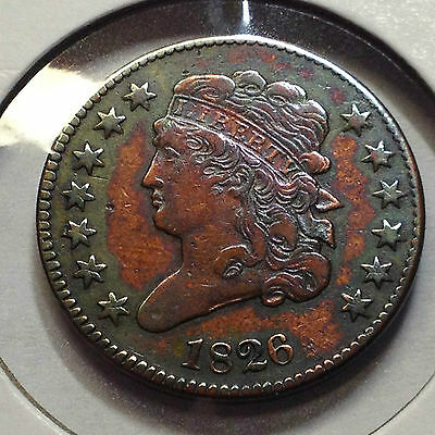 1826 Capped Bust Half Cent From Old Type Coin Collection