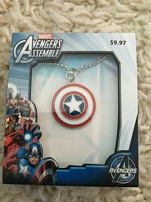 Marvel Avengers Captain America  Metal Pendant Necklace With Chain Gift Box