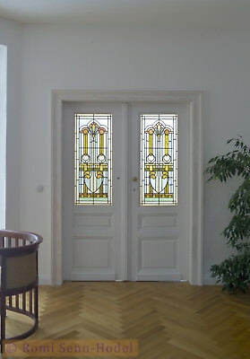 Bleiverglasung, 2-tlg. / Stained Glass, 2-piece / Jugendstil / Art Nouveau