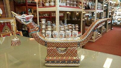 Thai Benjarong Porcelain Candlesticks Swan Boats Best Asian Collectible