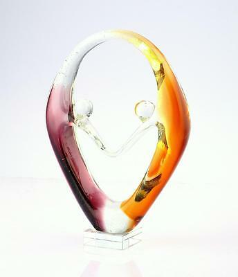 """New 11"""" Hand Blown Art Glass Fused Sculpture Figurine Amber Purple Abstract"""