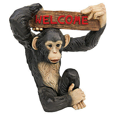 Monkey Chimpanzee Statue Sculpture Garden Welcome Sign Statuary Home Patio Decor