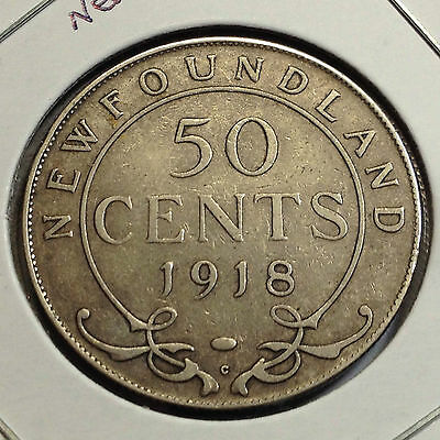 1918 Newfoundland Canada 50 Cents Sterling Silver Better Grade Coin