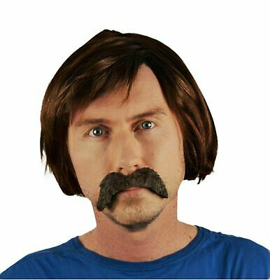 Bob Style Men's Brown Fancy Dress Wig & Droop Self Adhesive Moustache.