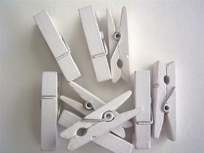 BB SMALL PEGS - WHITE bigger 35mm pk of 20 wooden mini peg clothespin baby craft
