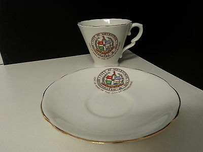 Beautiful Royal Stafford cup and saucer. Coat of Arms of the City of Melbourne