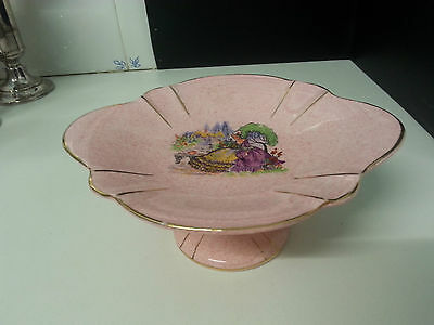 Beautiful Aynsley bone china small pink compote Dolly Varden Crinoline lady