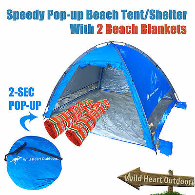 BEACH Shelter Tent Speedy Pop Up Dome With 2 Blankets Outdoor Camping