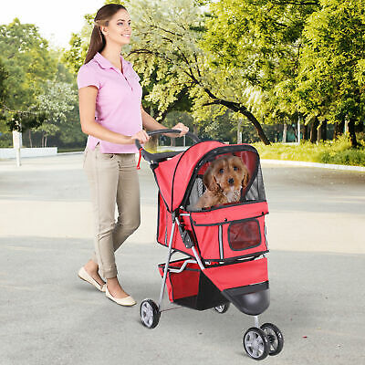 Pawhut 3 Wheels Dog Pet Stroller Walk Jogger Travel Carrier W/ Brake & Canopy