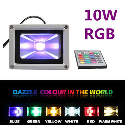 10W LED Flood Light RGB Color Changing Outdoor Holiday Garden Christmas Lamp +IR