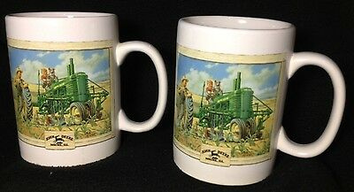 Matched pair John Deere mugs w/same two vintage pictures, 16oz capacity each