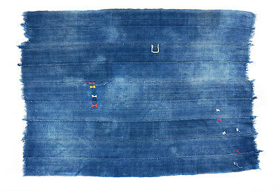 Rare abstract embroidered vintage Dogon indigo cloth from Mali, West Africa P127