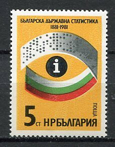 37790) BULGARIA 1981 MNH** Statistics Office 1v Scott# 2770