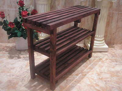 BENCH STOOL with SHELVES, colour mahogany, 68 cms. solid Holzbank Lamellen