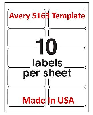 """Premium Made in USA Laser/Inkjet 1000 Address Labels 2 x 4""""  10 Per Page 5163"""