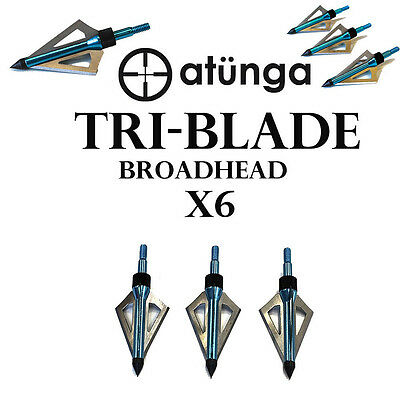 Atunga 6x Tri-Blade Broadhead Hunting Target Bow Archery Screw Tip Arrows Head