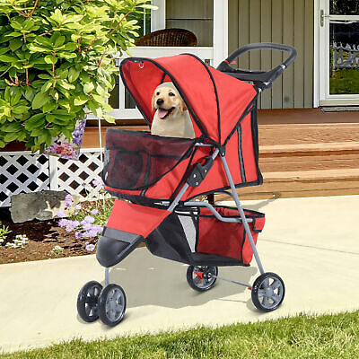 Foldable 3 Wheels Dog Pet Stroller Carrying Cart w/ Brake Canopy Easy For Travel