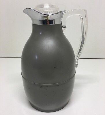 Vintage Thermos Carafe B134 Grey Metal Glass Lined Clear Plastic Handle & Top
