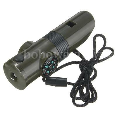 7 in 1 Camping Survival Whistle Torch Compass Thermometer Flashlight Magnifier