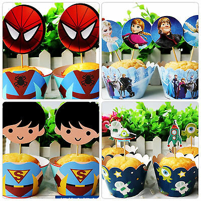 Cupcake Muffin Wrappers & Toppers Cake Baking Decorating x12 superman /Spiderman