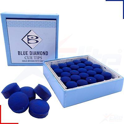 50 x Blue Diamond Leather Snooker Pool Billards Cue Tips