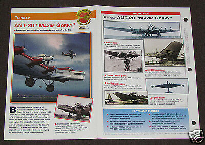 TUPOLEV ANT-20 MAXIM GORKY Airplane Photo Spec Sheet Booklet Brochure