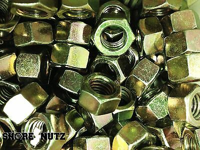 (100) 5/8-11 Grade 8 Hex Finish Nuts - Yellow Zinc - Coarse