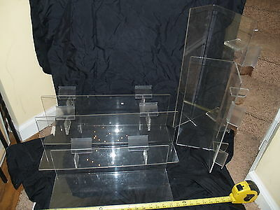 "Slatwall Shelf Clear Acrylic Store display Shelf lot of 5 angled back 18"" 23"""