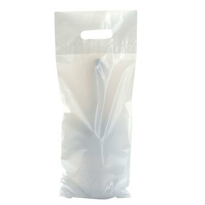 Pack Of 50 White Polythene Plastic Wine Champagne Bottle Carrier Gift Bags