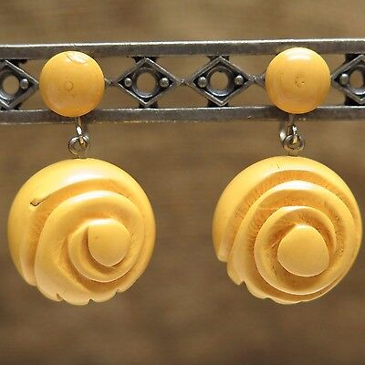 Vintage Butterscotch Color Carved Flower 21mm Beaded Earrings Screwback Dangle