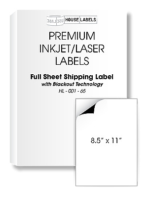 25 Full Sheet  BLACKOUT FAST PEEL 1 UP 8.5 x 11 White Shipping Labels