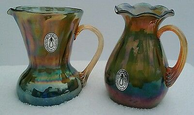 Vintage Pilgrim Iridescent Art Glass Set of 2 with Stickers
